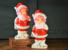 Pair Of Vintage Ceramic Santa Claus Lighted Figurines/Figures Set Light Up Christmas Holiday Home Decor Lamps Japan Original Boxes By Misinterpreted on etsy