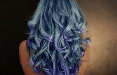 blue curly long hair