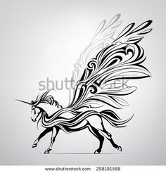 Find Vector Silhouette Running Pegasus stock images in HD and millions of other royalty-free stock photos, illustrations and vectors in the Shutterstock collection. Thousands of new, high-quality pictures added every day. Pegasus Tattoo, Tribal Drawings, Horse Drawings, Unicorn Drawing, Unicorn Art, Sagittarius Tattoo Designs, Horse Stencil, Horse Tattoo Design, Unicorn Tattoos