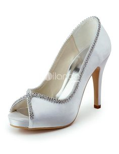 Glitter White Beading Peep Toe Satin Bridal Wedding Shoes. See More Bridal Shoes at http://www.ourgreatshop.com/Bridal-Shoes-C919.aspx
