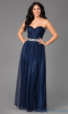 Dress, Lace Floor Length Strapless Sweetheart Dress - Simply Dresses