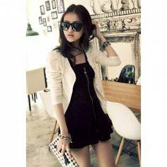 Stylish Single Breasted Long Puff Sleeve Wave Stripe Coat for Women