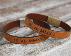 Personalized Leather Bracelet Set of 2 Matching Roman Numeral Bracelet Boyfriend Gift Couples Anniversary Gift Wedding date Bracelet
