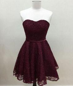 Cute Maroon Lace short prom dress, #homecomingdress, #lacedress, #bridesmaidresses
