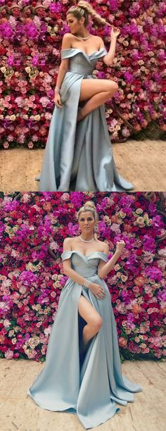 modest blue off the shoulder satin prom dresses, elegant evening gowns with high slit, simple party dresses with high slit