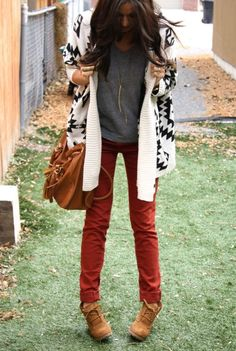loose gray v neck tee, rusty red skinny pants, black and white aztec boyfriend cardigan, brown leather booties. travel, preppy, casual, cozy, country, college, camping, fall or winter outfit.