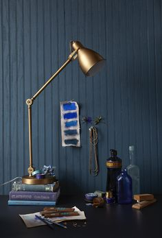 Cool blues and warm copper.