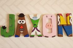 Toy Story Letters - Personalized Hand Painted Papier Mache Letters - Topy Story Theme Kids Name Toy Story Room, Toy Story Theme, Toy Story Birthday, Toy Story Party, Cumple Toy Story, Festa Toy Story, Manualidades Toy Story, Painted Letters, Hand Painted