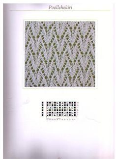 Lace knitting stitch - Poollehekiri from Estonian lace patterns Lace Knitting Stitches, Crochet Stitches Patterns, Knitting Charts, Lace Patterns, Loom Knitting, Knitting Designs, Knitting Projects, Stitch Patterns, Mode Crochet