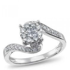 curved diamond ring with white gold band