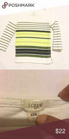 ❤️J Crew T Shirt❤️ Used but in excellent condition. J Crew XXS. 3/4 sleeve, colors are cream, green, light green and yellow. J. Crew Tops Tees - Long Sleeve