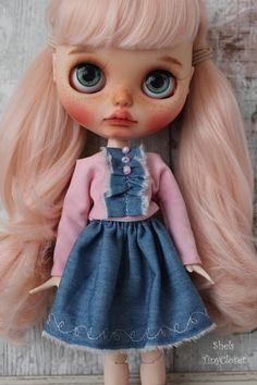 Pink & Blue Outfit For Blythe Handmade 2 piece set blythe