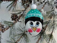 Penguin Spoon Ornament Turquoise Hat Hand by HomeArtsBoerne Spoon Ornaments, Penguin Ornaments, Homemade Ornaments, Painted Ornaments, Christmas Tree Ornaments, Christmas Fun, Christmas Things, Christmas Projects, Holiday Crafts