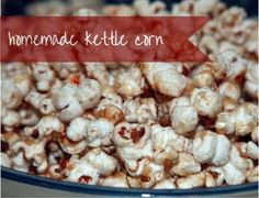 Savory snack For A Crowd - Homemade Kettle Corn a delicious (and cheap!) snack for a crowd. Recipes Appetizers And Snacks, Popcorn Recipes, Savory Snacks, Yummy Snacks, Delicious Desserts, Healthy Snacks, Snack Recipes, Cooking Recipes, Yummy Food