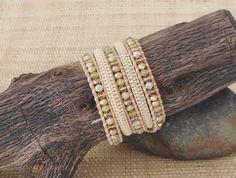 Yellow Crystal Wrap Bracelet with Macrame/Leather Wrap Bracelet/5 Wrap Bracelet/Pastel Wrap Bracelet/Gift for Her/Boho Chic/Resort Jewelry by DevaOriginalBracelet on Etsy https://www.etsy.com/listing/385469978/yellow-crystal-wrap-bracelet-with