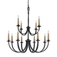 Capital Lighting Heritage 12 Light Chandelier in Black Iron 3992BI