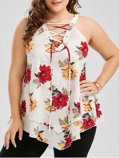 Plus Size Floral Layered Lace Up Blouse - White Xl Plus Size Jeans, Plus Size Blouses, Plus Size Tops, Plus Size Dresses, Plus Size Outfits, Plus Size Womens Clothing, Plus Size Fashion, Clothes For Women, Looks Plus Size