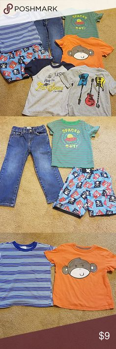 Bundle of boys clothes Bundle of boys size 4T clothes. Bundle contains 5 shirts, 1 pair of jeans and 1 pair of swim trunks. Green shirt is made by Circo. Grey and blue football shirt made by Carter's orange monkey shirt made by jumping beans. Grey shirt with guitars on it made by Old Navy. Blue and white striped shirt made by Garanimals. Jeans made by Children's Place. Swim trunks made by op period will not separate bundle mix Matching Sets