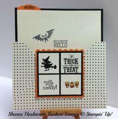 Uses envelope punch board, stampin up, Halloween, Halloween Hello stamp set, Trick or treat