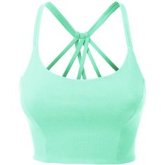 LE3NO Womens Fitted Halter Cut Out Back Bralette Crop Top ($11) ❤ liked on Polyvore featuring tops, green crop top, green halter top, bustier crop top, green bustier and cut-out tops