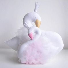 Stuffed & Plush, Soft Cotton swan pillow available in 2 styles- pink and white. Such a pretty addition to a nursery.