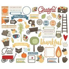 SIMPLE STORIES: Hello Fall Bits & Pieces Add that personal touch and flare to your plans with these fun die cut bits and pieces! Package includes (62) cardstock pieces.