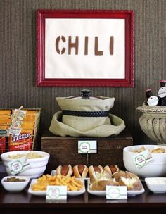 Adorable chili 'n s'mores party table. AND love the wrapped crock pot - perfect for disguising the ugly and huge crock!!