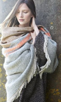 Silver grey and camel woven wool wrap with two shots of neon orange. Gorgeous.