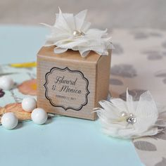 Vintage Style Personalized  Wedding Favor Boxes by MyLoveWeddings, $164.00