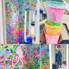 Lilly Pulitzer Stores, Lily Pulitzer Painting, Mermaid Room, Wall Murals, Wall Art, Disney Springs, Child Love, Paint Colors, Artsy