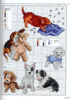 Various puppies at play - free cross stitch patterns Cross Stitch Cards, Cross Stitch Baby, Cross Stitch Animals, Cross Stitching, Cross Stitch Embroidery, Embroidery Patterns, Cross Stitch Designs, Cross Stitch Patterns, Motifs Animal
