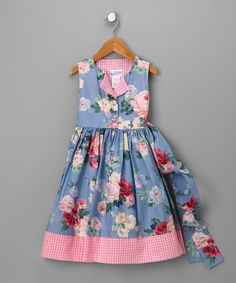 Take a look at this Blue Floral Button Dress - Girls  by C.I. Castro & Jayne Copeland on #zulily today!