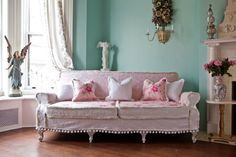 shabby chic couch sofa cottage white pink by VintageChicFurniture, $1450.00