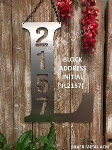 Initial Address Door Hanger - Metal Address Sign - Address Garden Flag - METAL ACM
