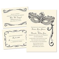 """Masquerade themed wedding invitation! Love it!   """"Masked Mystique"""" 3 for 1 Invitation in Ecru. Printed using raised ink and you can change the color to match your wedding colors!"""