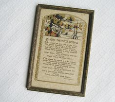 Vintage Framed Western Poem Out Where the West