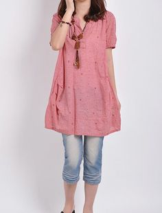 Hey, I found this really awesome Etsy listing at http://www.etsy.com/listing/157314856/pink-linen-tops-cotton-blouse-casual
