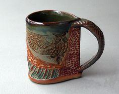 Hand-built Stoneware Owl Mug by PotterybyHelene on Etsy