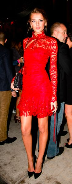 red lace dress + black heels