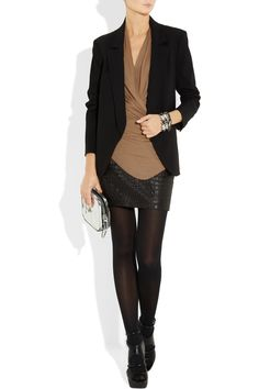 Polished yet edgy. Helmut Langdraped stretch-jersey top.