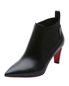 CHRISTIAN LOUBOUTIN JOAN POINT-TOE RED SOLE ANKLE BOOTIE, BLACK. #christianlouboutin #shoes #boots