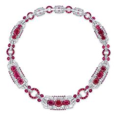 A highly important art deco ruby and diamond necklace, by Cartier