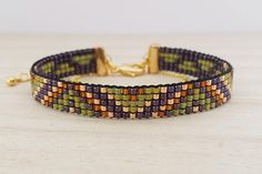 16K gold plated finish/ Purple & green loom beaded bracelet/