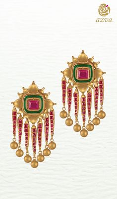 Bridal gold earrings with stones and enamel
