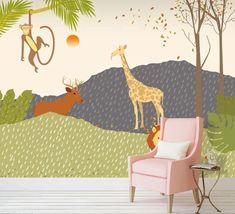 3D Cute Animal 591 Wall Murals | AJ Wallpaper Kids Room Wallpaper, Paper Wallpaper, Self Adhesive Wallpaper, New Wallpaper, Custom Wallpaper, Cartoon Mountain, 3d Wall Murals, 3d Cartoon, Traditional Wallpaper