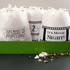 For your popcorn bar supplies, don't forget the treat bag! Our movie theme popcorn bags add a fun, whimsical touch to your popcorn bar during your reception. We created these treat bags for a friend's