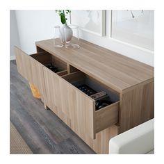 BESTÅ Combinazione + ante/cassetti - guida cassetto/chiusura silenziosa, Lappviken effetto noce mordente grigio - IKEA
