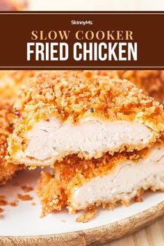 Slow Cooker Fried Chicken Clean Eating Slow Cooker Recipe, Clean Eating Recipes For Dinner, Clean Eating Meal Plan, Slow Cooker Recipes, Crockpot Recipes, Skinny Chicken Recipes, Fried Chicken Recipes, Slow Cooker Chicken, Fries