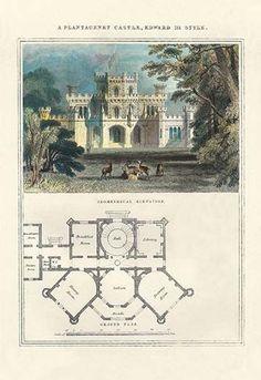 A Plantagenet Castle Edward III Style Giclee on canvas Minecraft Blueprints, Minecraft Designs, Minecraft Castle, Minecraft Houses, Vintage House Plans, Plantagenet, Edwardian Fashion, Edwardian Style, Mansions