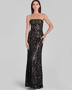 BCBGMaxAzria Strapless Lace Overlay Gown